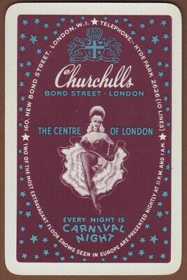 Playing Cards 1 Single Swap Card Vintage CHURCHILLS CLUB Can-Can Dancing Girl