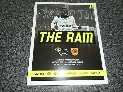 DERBY COUNTY  v  HULL CITY  2018/19  FEB  9th MINT UNREAD  **BEST DEAL ON EBAY**