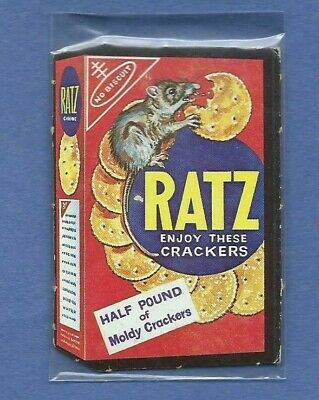 Wacky Packages 1967 Die Cut # 32 Ratz Crackers Punched-Nice!