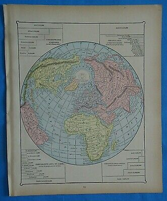 Vintage 1899 NORTHERN HEMISPHERE Map ~ Old Antique Original Atlas Map 20819
