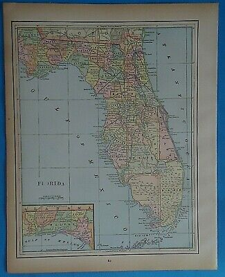 Vintage 1898 FLORIDA Map ~ Old Antique Original Atlas Map 20819
