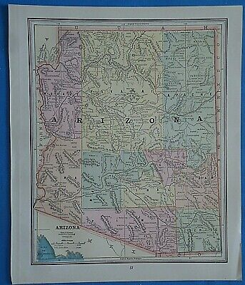 Vintage 1899 ARIZONA TERRITORY Map ~ Old Antique Original Atlas Map 20819