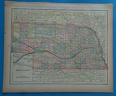 Vintage 1898  NEBRASKA Map ~ Old Antique Original Atlas Map 20819