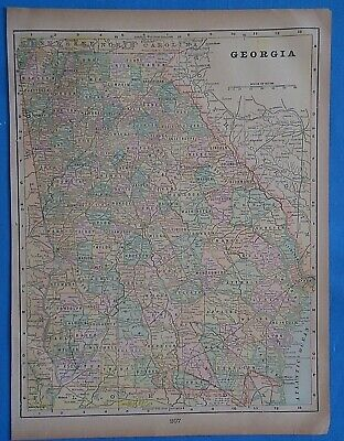 Vintage 1899 GEORGIA Map ~ Old Antique Original Atlas Map 20819