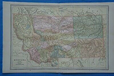 Vintage 1899 MONTANA Map ~ Old Antique Original Atlas Map 20819
