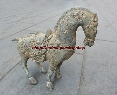 Collectible ancient Chinese Antique Style ancient dragon horse Copper statue
