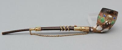 RARE Small Antique 19thC Enamel Clay Pipe 14K Gold Snake, Porcupine Quill Stem