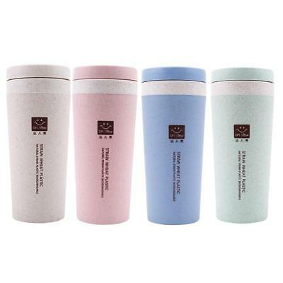 Double-wall Insulation Wheat Fiber Straw Travel Mug Leakproof Coffee Cup D