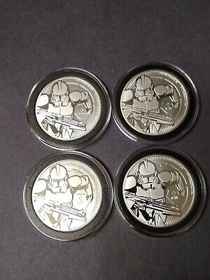 1 oz. 2019 Star Wars Clone Troopers .999 Silver Rounds X4.