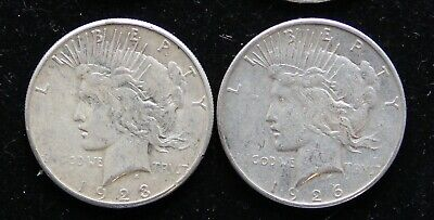 Two (2) Circ Peace Silver Dollars 1923-S & 1926-S 90% Bullion Pre-1964 $'s
