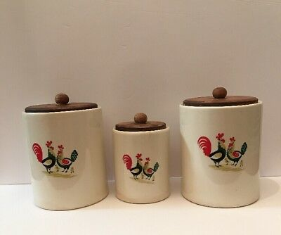 Steubenville Rooster FAMILY AFFAIR Canister Set w Lids Chicken Rooster Chicks
