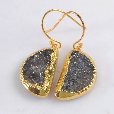 Half Moon Black Agate Druzy Geode Dangle Earrings Gold Plated T074962