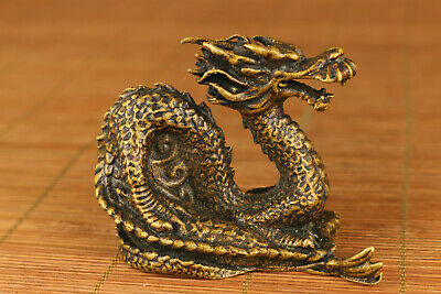 Rare chinese old brass hand carved dragon statue netsuke collectable ornament