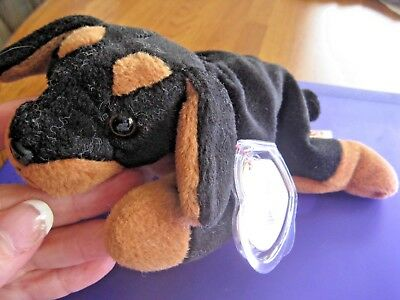 TY Beanie Babies Doby The Doberman Dog 1996 Retired 3rd Generation Tush Tag *