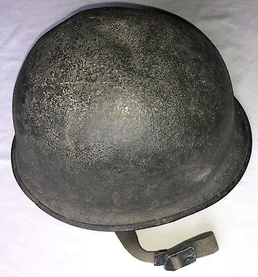 Original WWII US Army M1 Helmet Shell NAMED With Battle Damage Signal Corps Vet