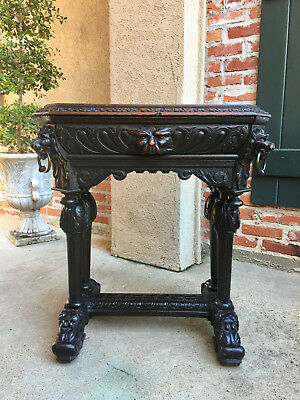 PETITE Antique French Victorian Carved Oak Table Desk Dolphin Renaissance Gothic