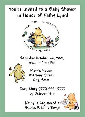 50 Personalized Classic Winnie the Pooh Baby Shower Invitations