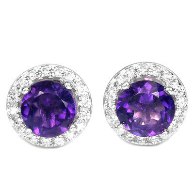 Natural Aaa Purple Amethyst Round & White Cz Sterling 925 Silver Earring