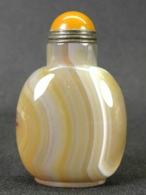 Chinese Handwork Carved Natural White Banded Agate Snuff Bottle