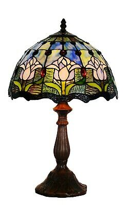 "Traditional Tulip Style Tiffany Bedside Lamp 20"" high"