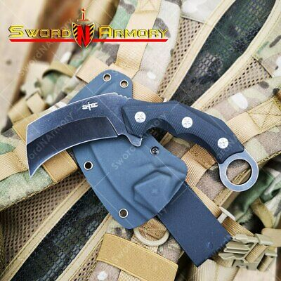 "8 1/2"" Karambit Fixed Broad Head Knife G10 Handle 3 1/4""3Cr13 Stone Washed Blade"