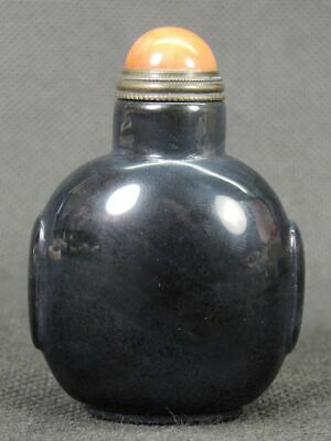 Chinese Handwork Carved Natural Black Agate Snuff Bottle