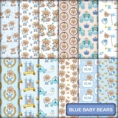 BLUE BABY BEARS SCRAPBOOK PAPER - 12 x A4 pages