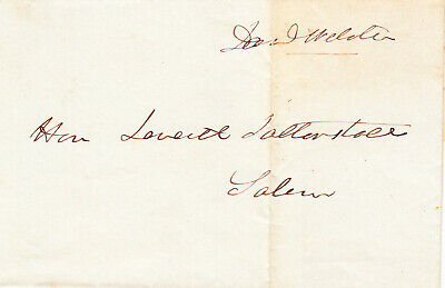 DANIEL WEBSTER. Statesman. Franked signed leaf addressed to Leverett Saltonstall