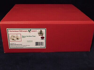 Nikko CHRISTMAS GIFTWARE 3-Section Handled Tray in Original Box