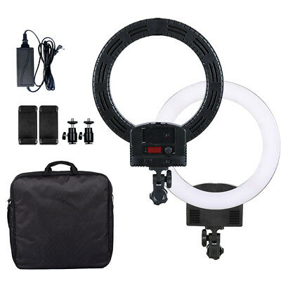"""12"""" LED Ring Light Dimmable Continuous Lighting Makeup Photo Video Kit Black"""