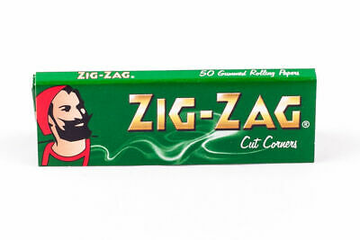 FULL BOX ZIG ZAG GREEN CUT CORNERS ROLLING CIGARETTE PAPERS x 100 booklets
