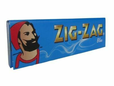 FULL BOX ZIG ZAG BLUE CUT CORNERS ROLLING CIGARETTE PAPERS=50 packs/2500 papers/