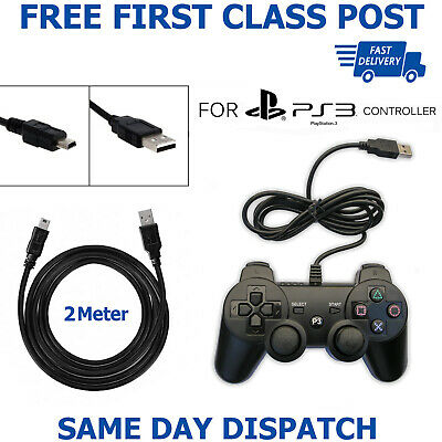 2M Long USB Charger Cable Data Sync Lead For Sony PS3 PlayStation3 Controller UK