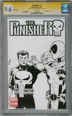 Punisher #1 Blank Cgc 9.6 Signature Series Signed Deadpool #54 Sketch Marvel