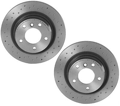 Set of 2 Rear Brembo Xtra Dimpled Drilled Brake Disc Rotors for BMW E90 F32 F33
