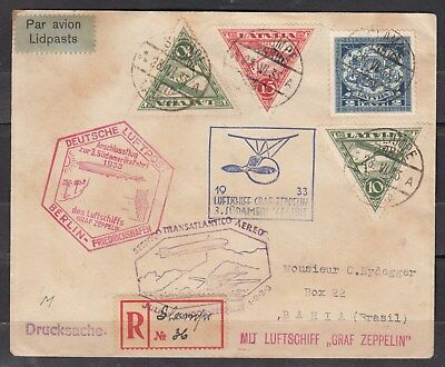 LATVIA, GERMANY, 1933 3rd ZEPPELIN SOUTH AMERICAN FLIGHT CV TO BRAZIL