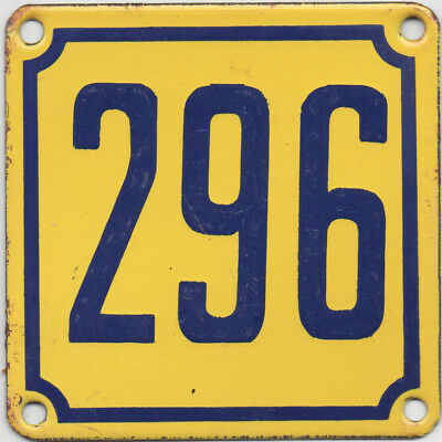 Old French house number 296 door gate wall plate plaque enamel steel metal sign