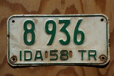 1958 Idaho Trailer License Plate # 8 936 - Motorcycle Size