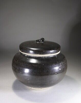 Antique Chinese Black Ware Cizhou Jar & Cover Song Dynasty