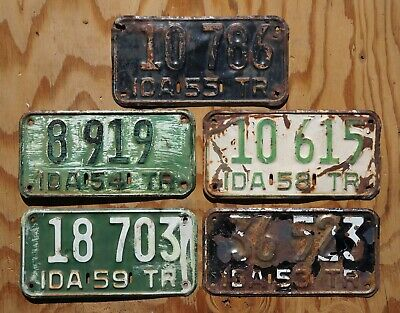 1953 1954 1955 1958 1959 Idaho Trailer License Plate - LOT OF 5