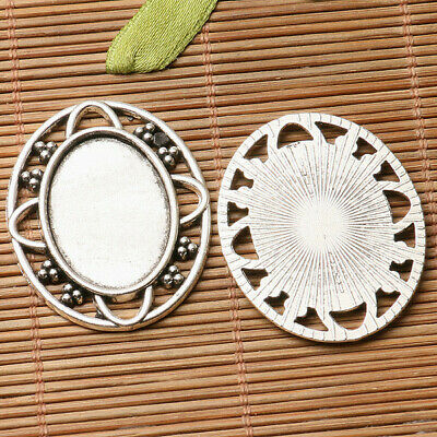 4pcs dark silver color  oval shaped cabochon setting in 25x18mm EF3230