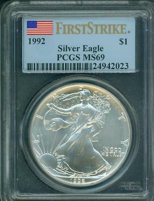 1992 American Silver Eagle ASE S$1 PCGS MS69 FIRST STRIKE FS minor blemishes !!!