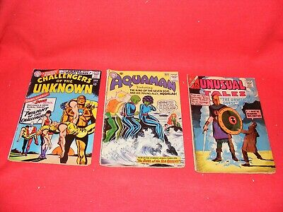 (3) Used 1964 & 66 DC COMICS, AQUAMAN, Unusual Tales, Challengers of the Unknown