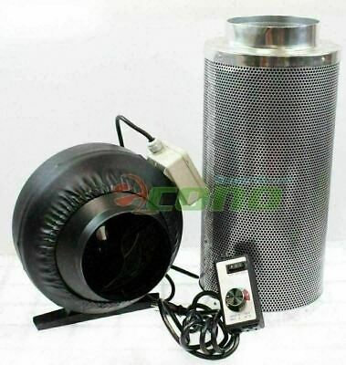 """Combo 6"""" Inline Fan Speed Controller & Hydroponic Odor Scrubber Carbon Filter"""