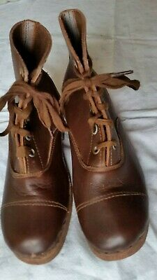Vintage Children,s Brown Leather  Boots With Wooden Soles & Heels
