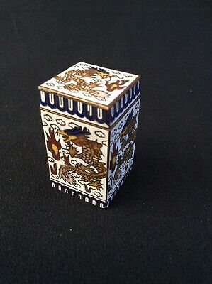 Japanese cloisonné vintage Art Deco antique small dragon design Snuff box