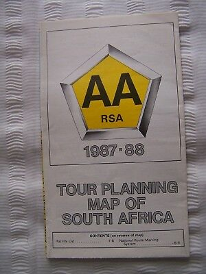 Map, South Africa, Aa, Touring Itinerary, 1987-88