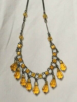 Vintage Art Deco 1930s to 1940s amber crystal glass bead & silver tone necklace