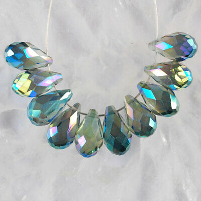 K527 13x8 8Pcs AB Color Faceted Crystal Teardrop Pendant Beads