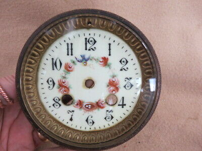 Lovely Antique Hand Enamelled French Clock Dial, Bezel, And Glass